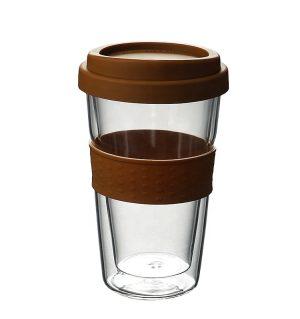 Cana cafea cu capac, din sticla pereti dubli 250 ml SKU: CCC-250